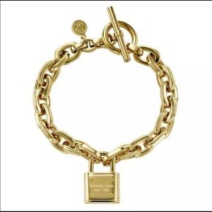 MK DESIGNER GOLD PD LOGO PADLOCK CHAIN LINK TOGGLE